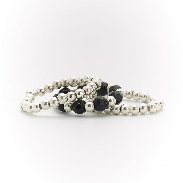 Perle de Jade bague trio argent massif (925) et quartz noir
