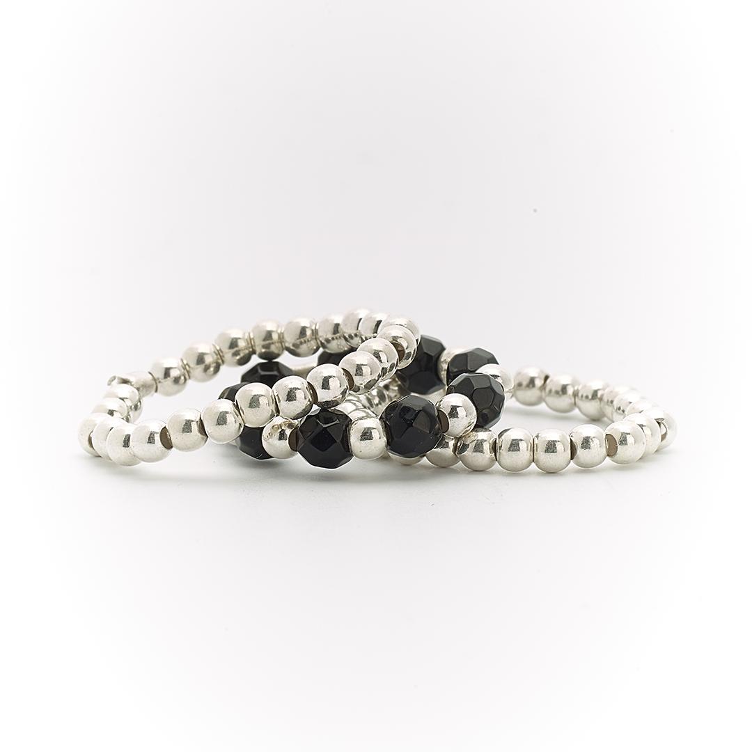 bagues trio élastiques quartz noir perle de jade