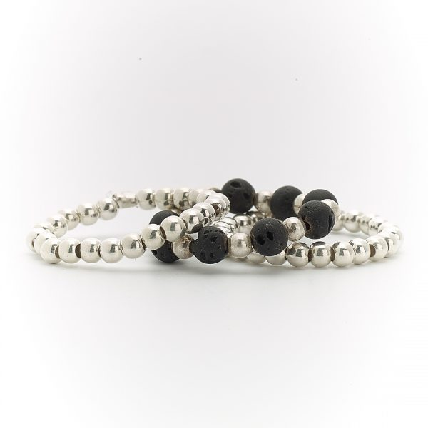 Bagues trio argent massif (925) et pierres de lave noire Perle de Jade