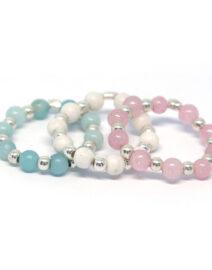Bagues trio élastiques quartz bleu rose et fossile blanc perle de jade