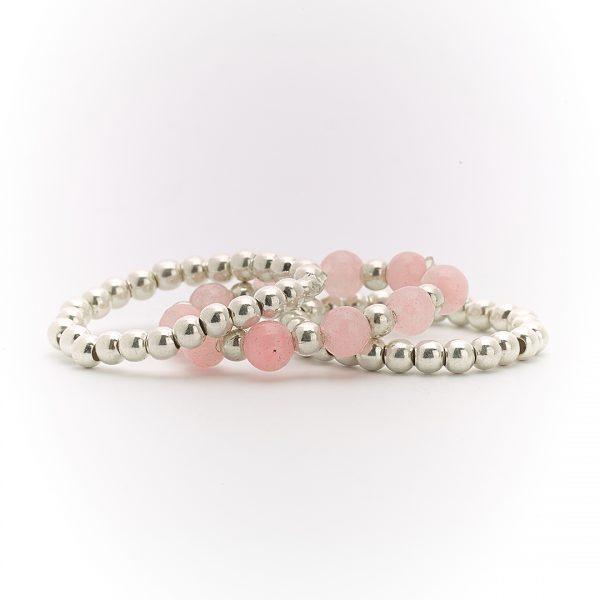 Bagues trio argent massif (925) et pierres quartz rose Perle de Jade