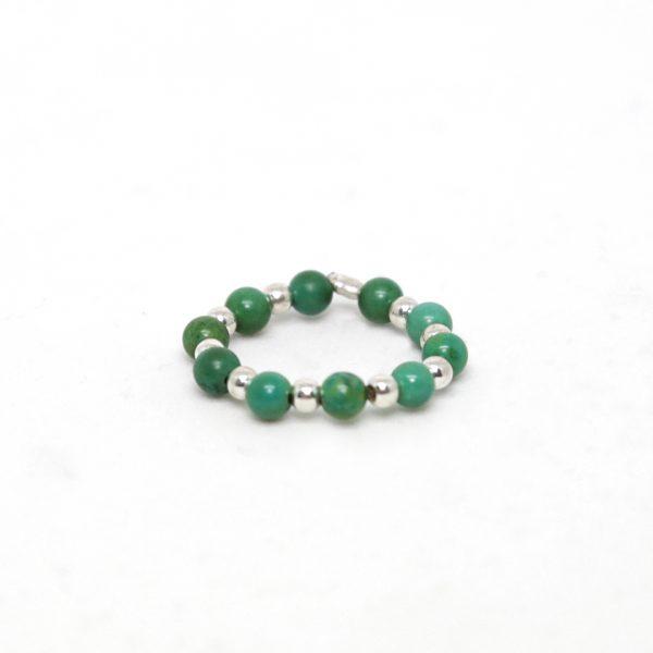 Bagues argent massif (925) et perles vertes Perle de Jade