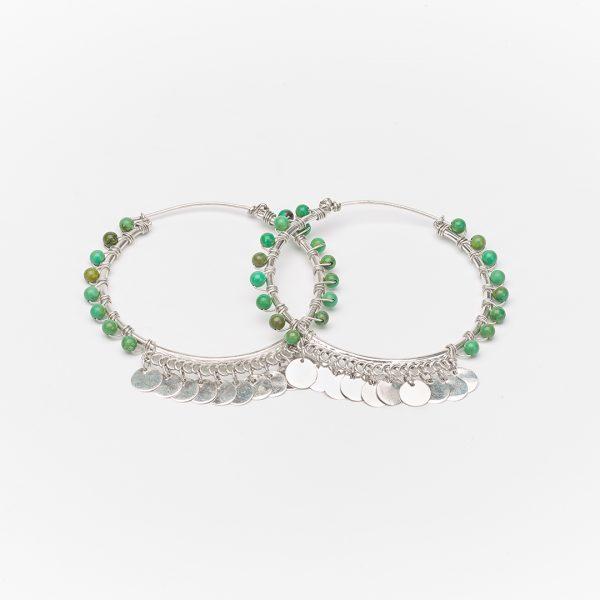 Perle-de-jade-boucles-d'oreilles-créoles-pierre-turquoise-argent-massif-925