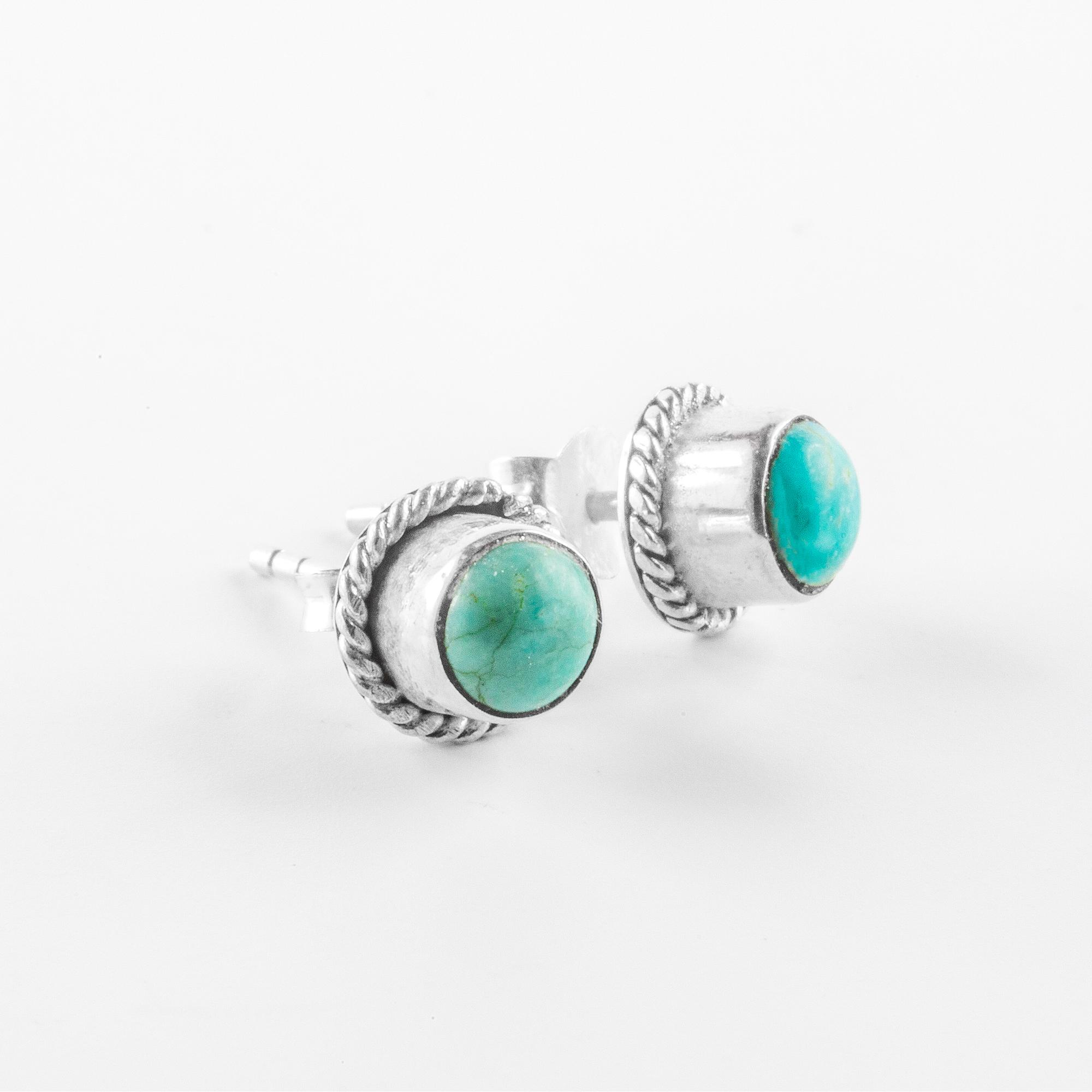 """Perle de Jade boucles d'oreilles """"Laguna"""" en argent massif (925) et pierres de turquoise"""