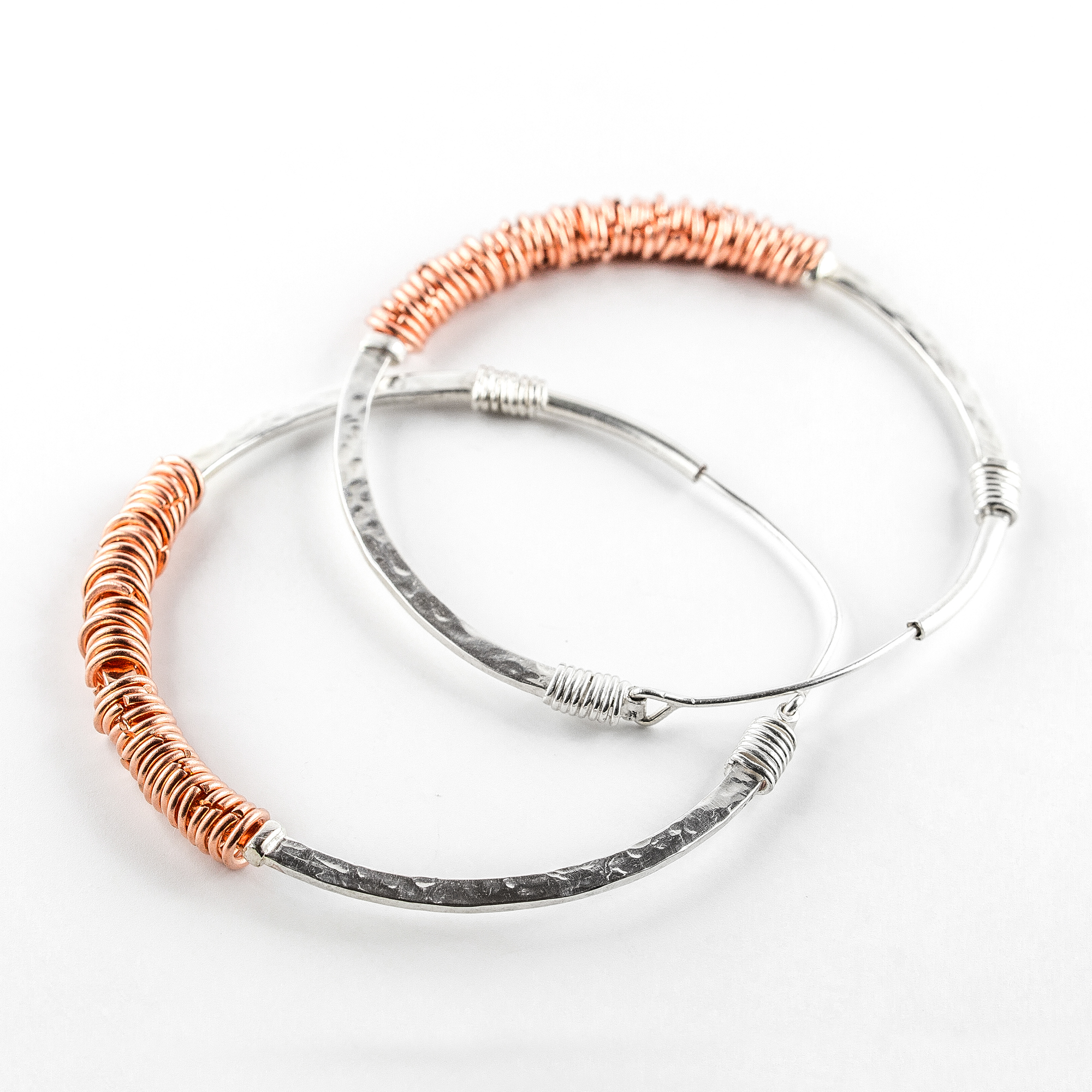 """Goldie"" Creole earrings in silver and copper"