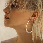 Boucles d'oreille créoles en argent massif (925) et cuivre Perle de Jade