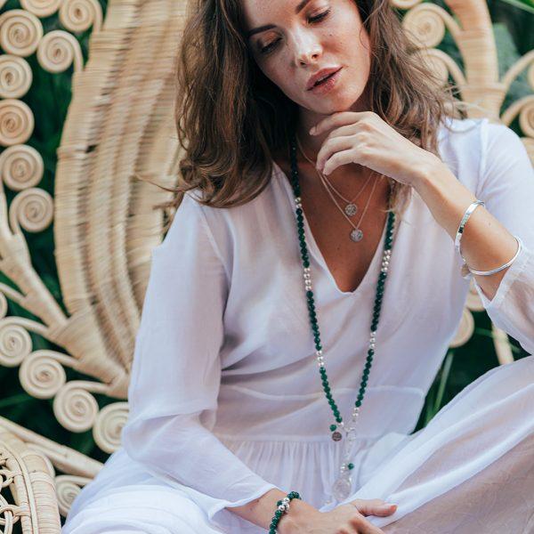 Bracelet talisman en argent massif Perle de Jade gravé