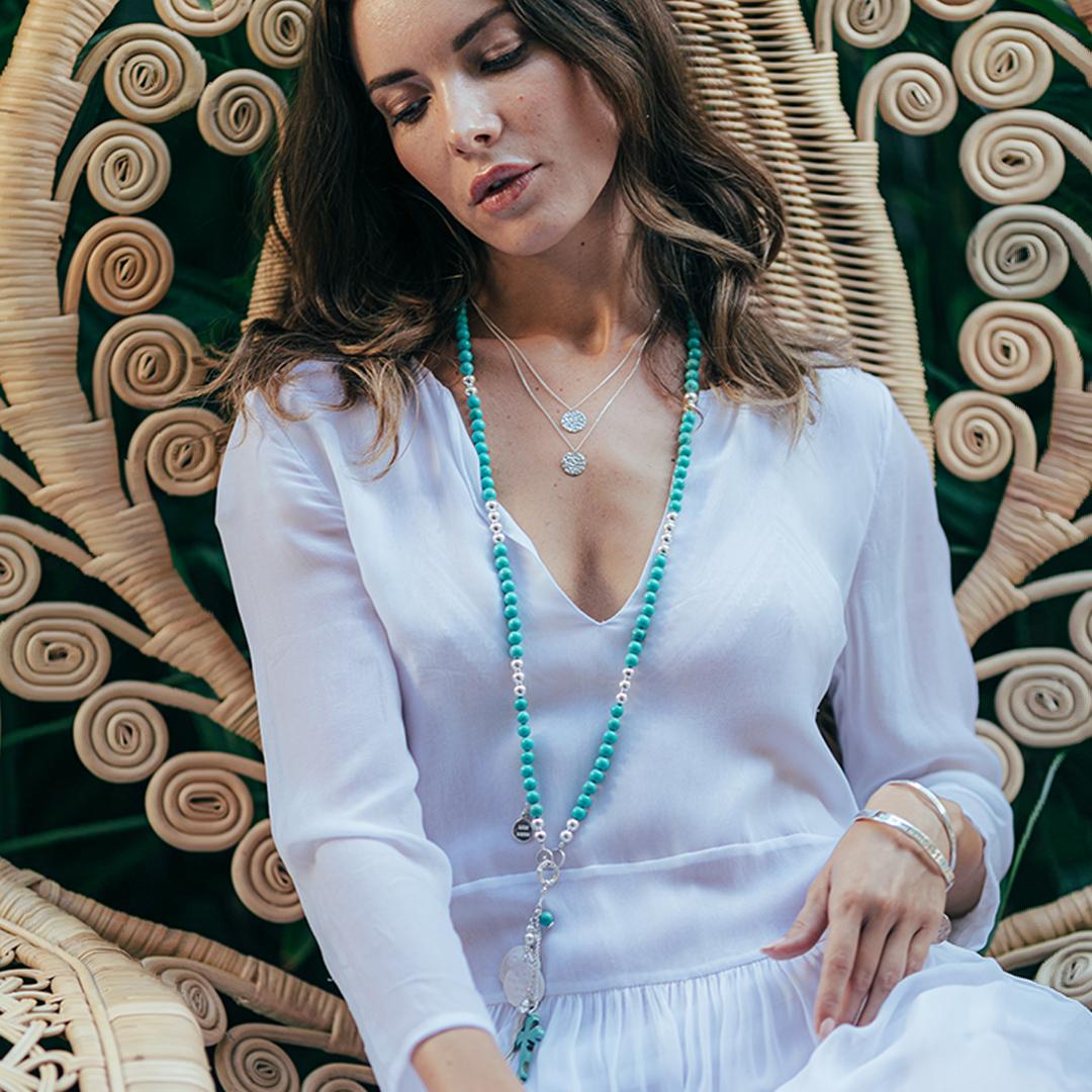Perle de Jade collier en pierre de turquoise naturelle et argent massif 925