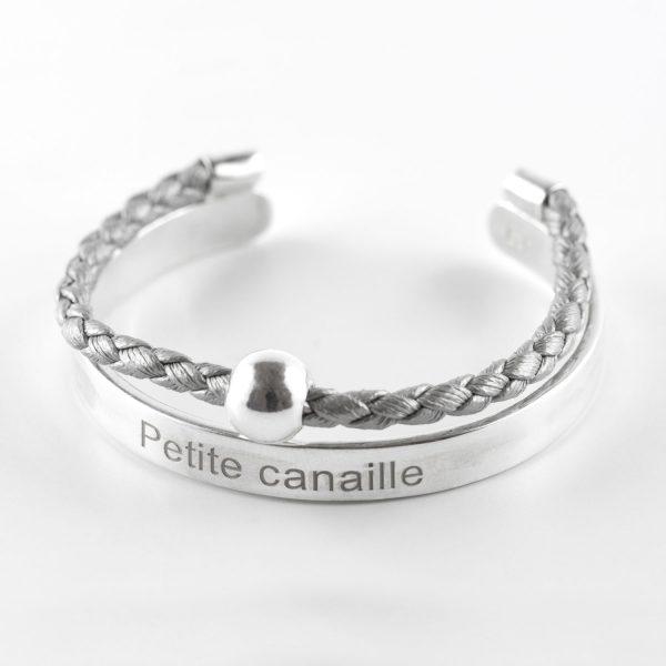 bracelet jonc enfant argent massif perle de jade