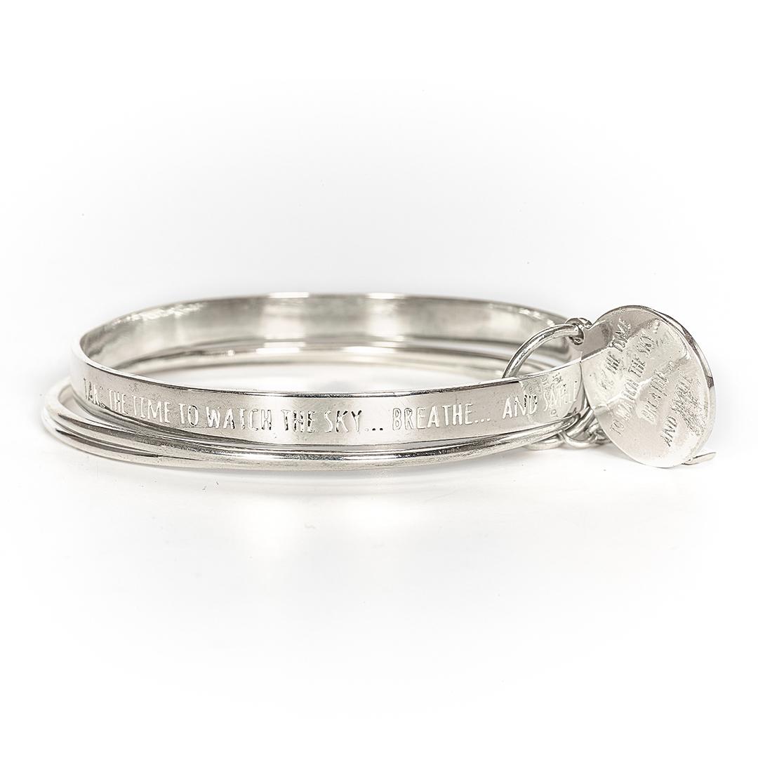"Bracelet jonc argent massif talisman ""Watch the sky"" Perle de Jade"