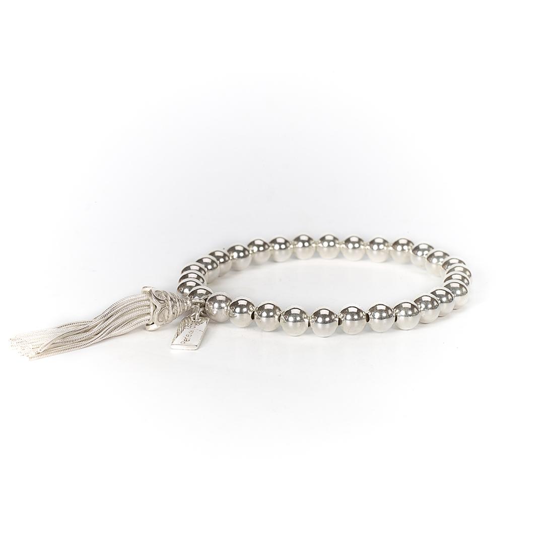 Bracelet pompon fou en argent massif (925) Perle de Jade