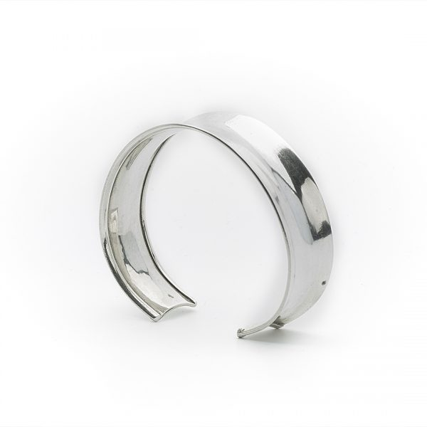 Bracelet manchette en argent massif (925) recourbé Perle de Jade