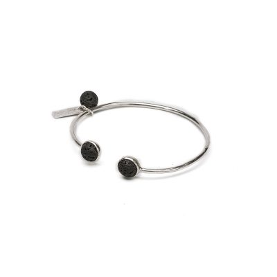 Bracelet jonc argent et pierre de lave noire Perle de Jade