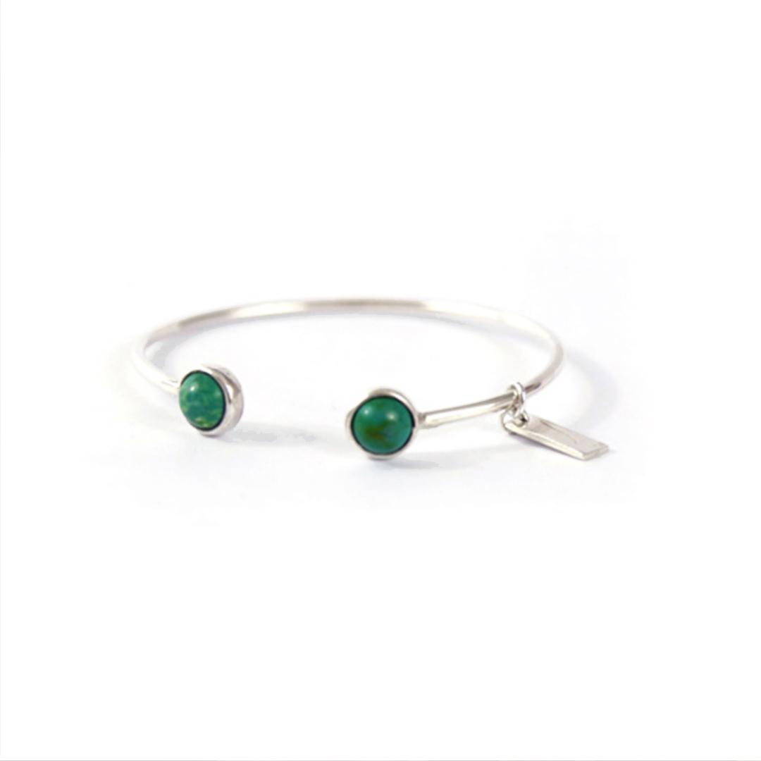 Bracelet jonc pierres de malachite et argent massif 925 perle de jade