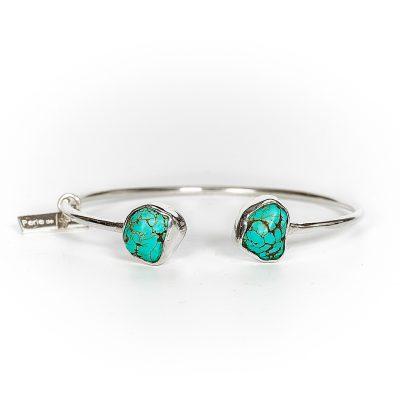 Bracelet jonc argent massif (925) et turquoise Perle de Jade