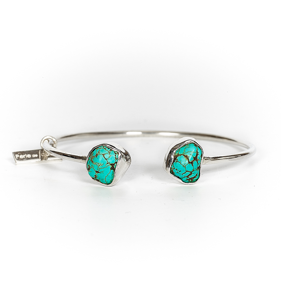 Bangle in silver with dark turquoise