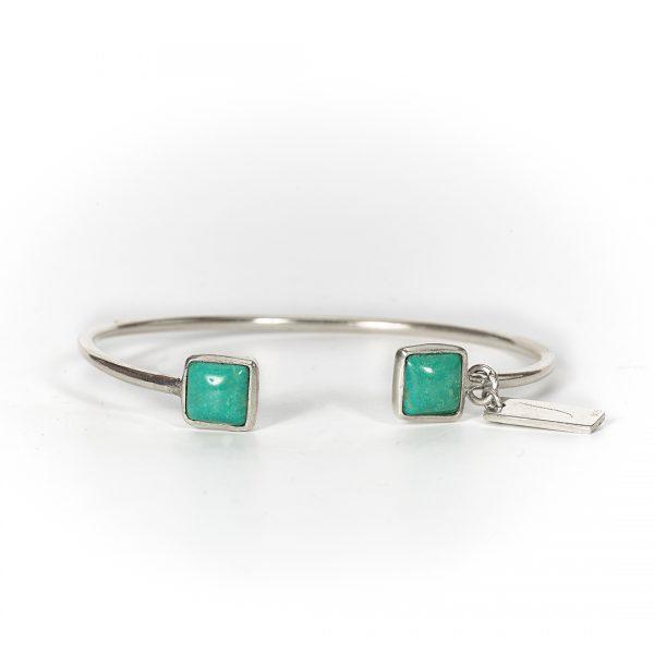 Bracelet jonc argent et pierre de turquoise Perle de Jade