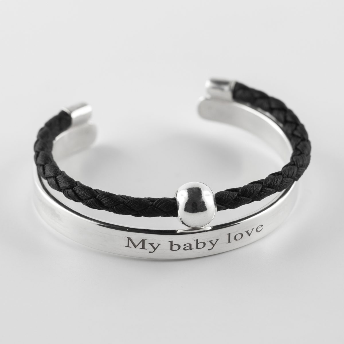 "Child's silver bangle inscription ""My Baby Love"" black leather cord and solid silver bead"