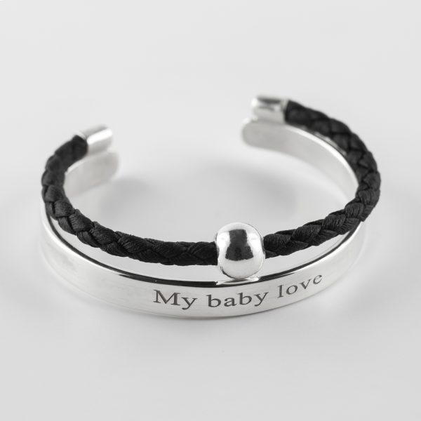 bracelet jonc enfant argent massif 925 perle de jade cuir noir my baby love