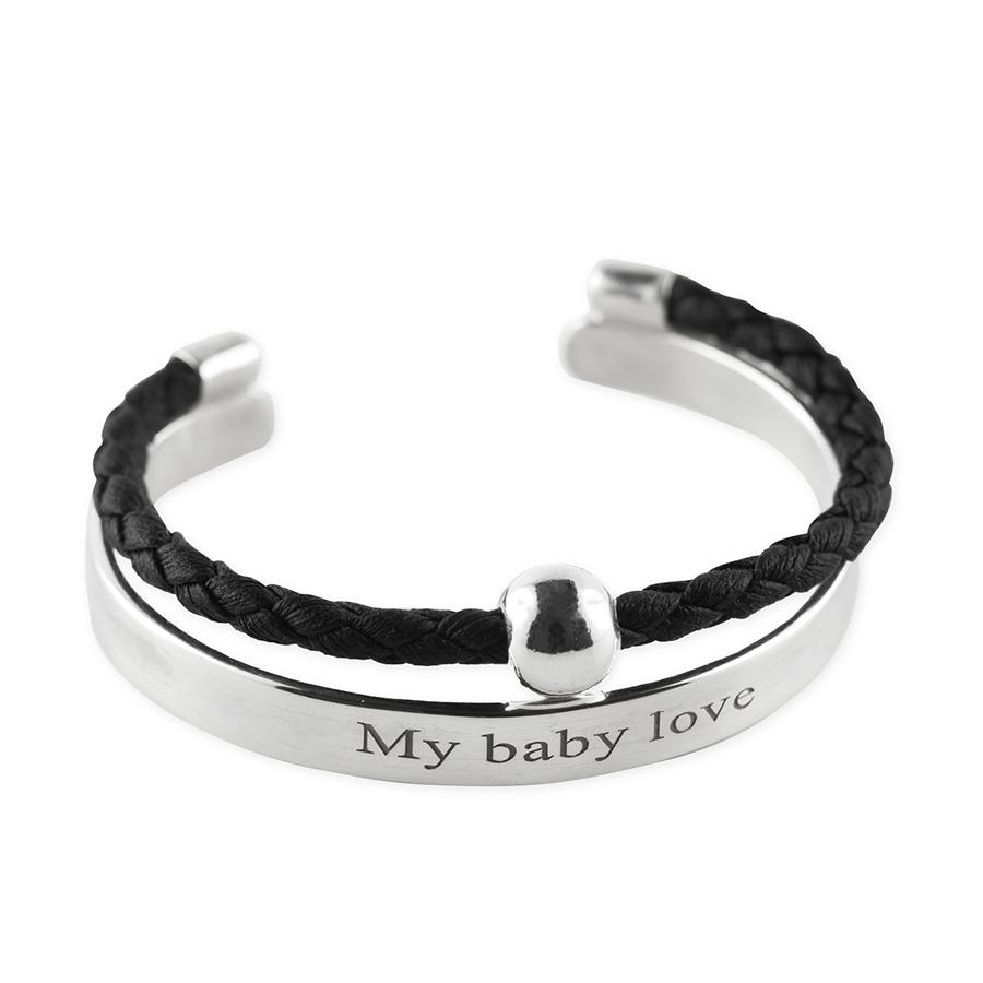 Perle de jade bracelet jonc cuir noir enfant argent 925 retouche 1