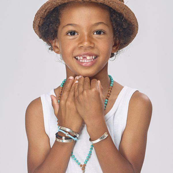 Perle de Jade bracelet en cuir bleu et argent massif (925) pour enfant gravé My baby love