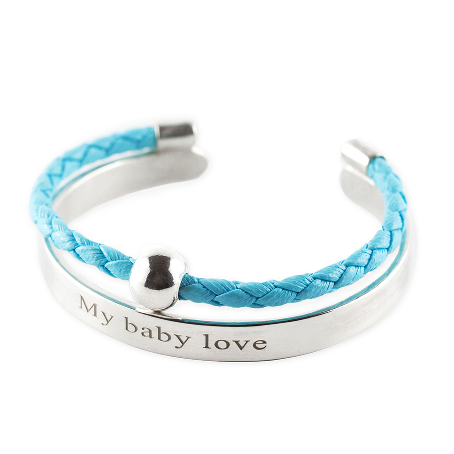 """Child's solid silver bangle with inscription """"My Baby Love"""" and blue leather cord"""