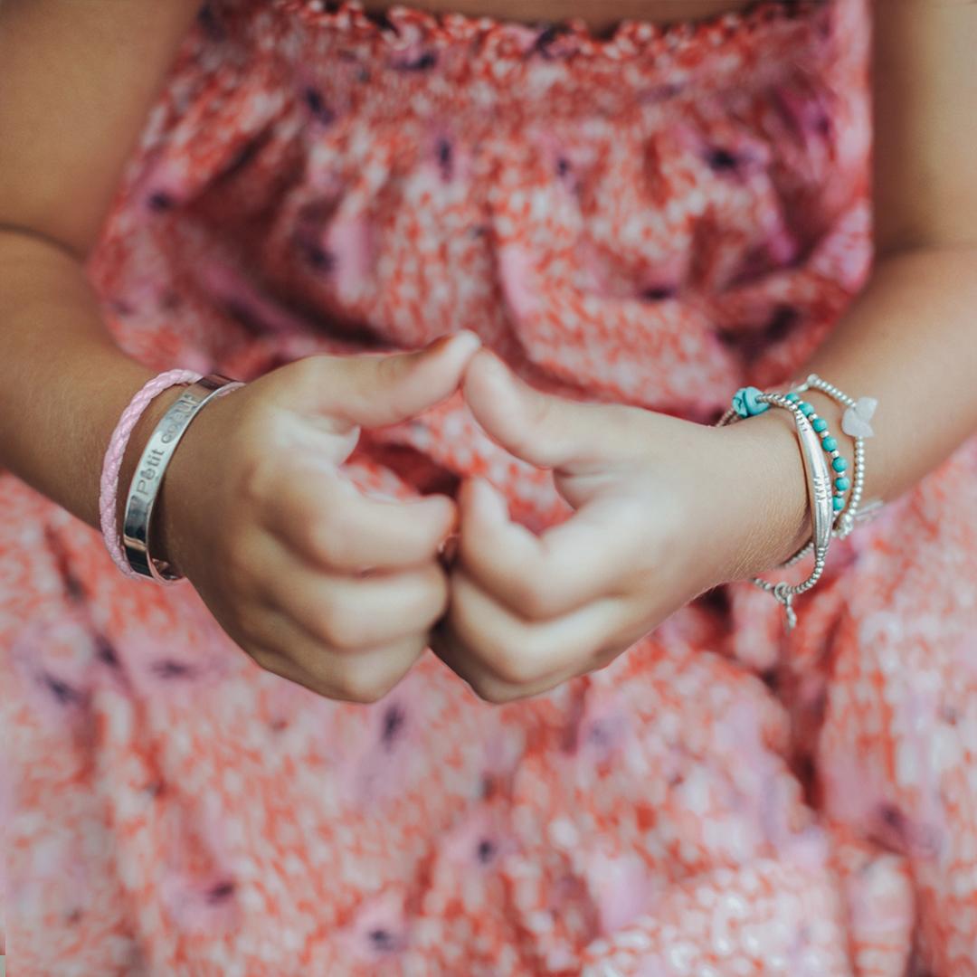 Perle de Jade bracelet jonc enfant en argent massif (925)
