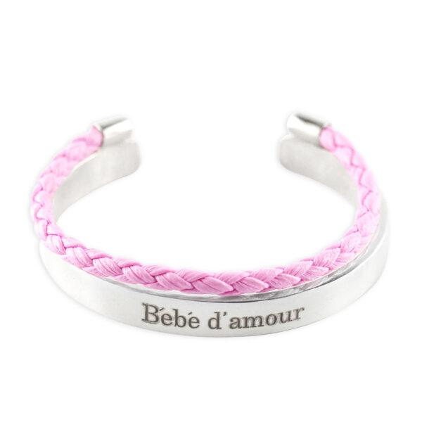 Perle de jade bracelet jonc enfant argent massif 925 Petite Canaille cuir rose detail retouche 2