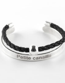 """Perle de Jade bracelet jonc enfant en argent massif (925) """"Petite canaille"""" cuir noir avec perle d'argent"""