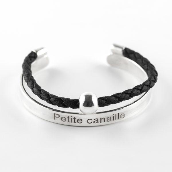 bracelet jonc enfant argent massif 925 cuir noir petite canaille perle de jade