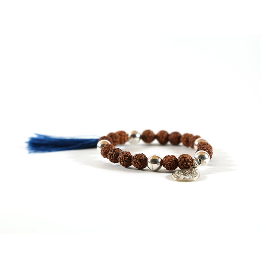 Bracelet de méditation bouddhiste mâla bleu en graines rudraksha et médaillon en argent massif (925)