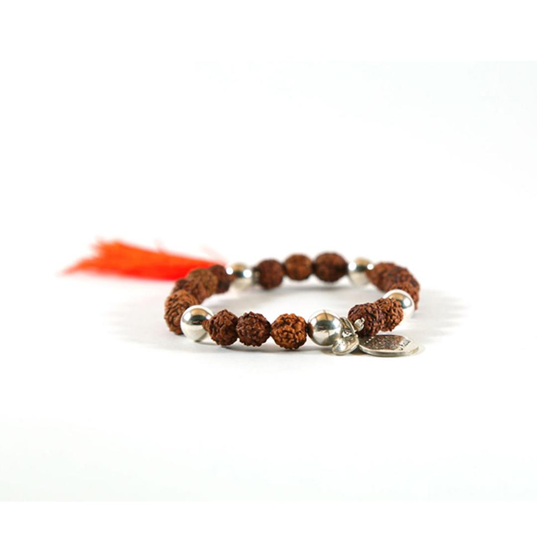 Bracelet Bouddhiste Mâlâ de Méditation orange et argent massif 925 perle de jade