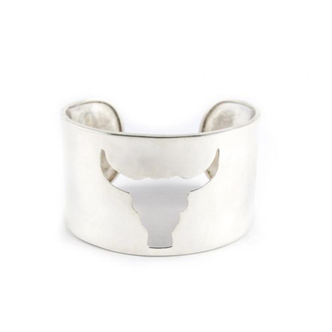 « Buffalo Head » cuff bracelet in silver
