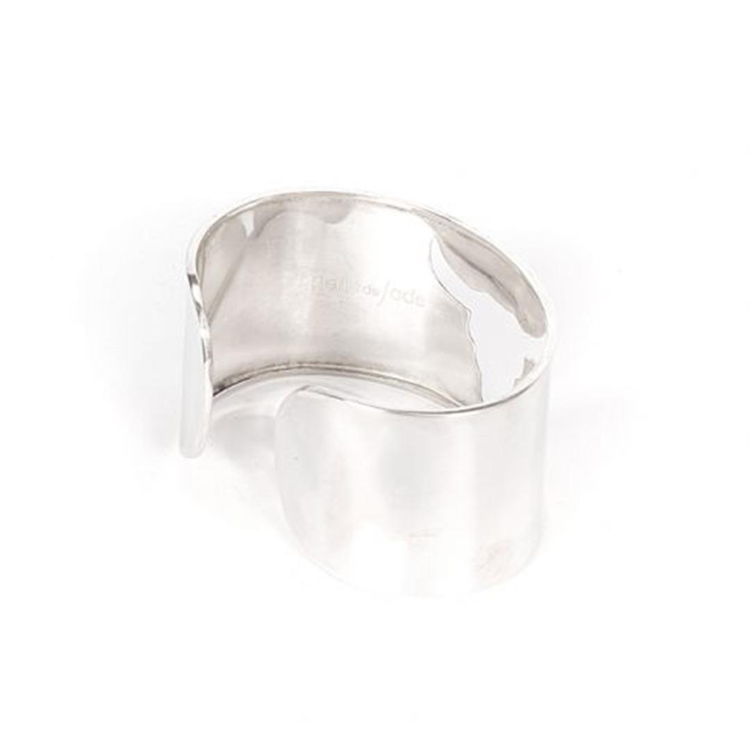 Bracelet manchette en argent massif (925) Perle de Jade