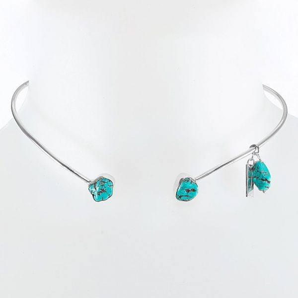 Collier Simplicity argent et turquoise Perle de Jade