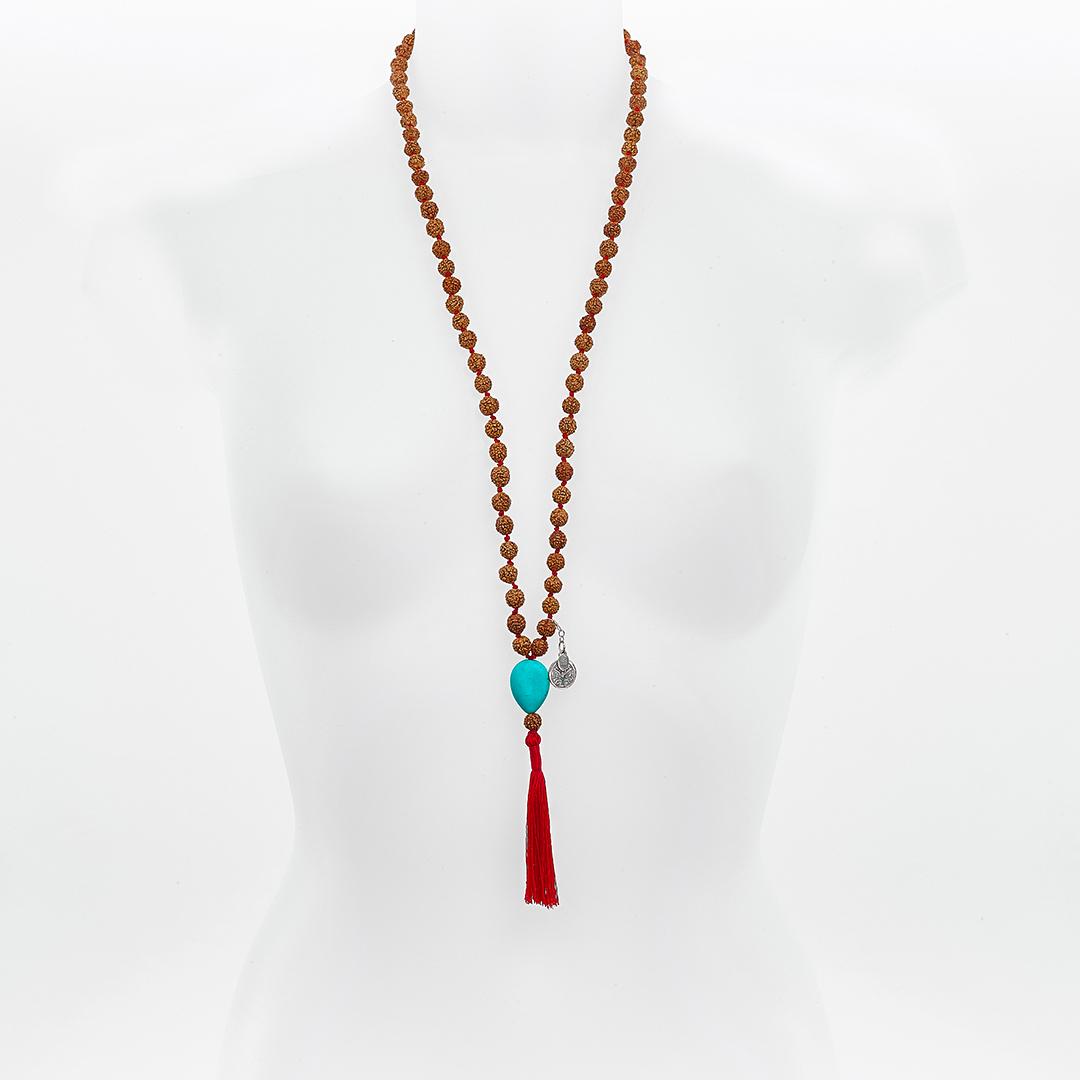 Perle de Jade collier mâla méditation turquoise
