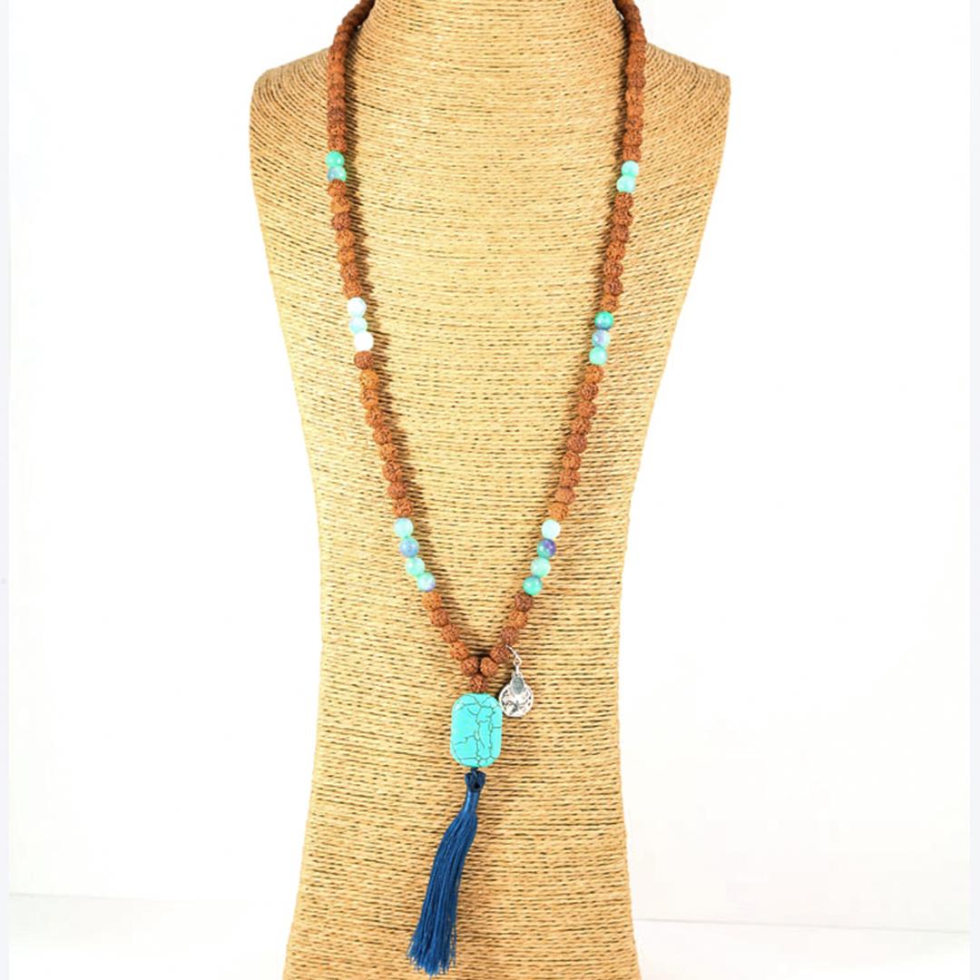 Perle de Jade collier Mâla de Méditation pierre turquoise
