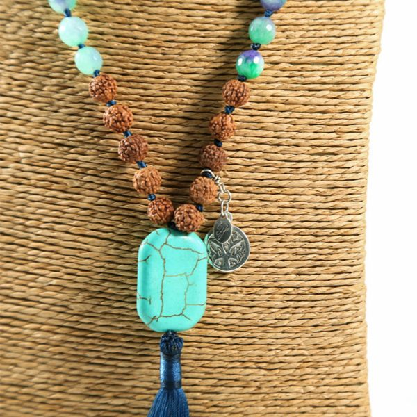 Perle de Jade collier Mâla de Méditation turquoise
