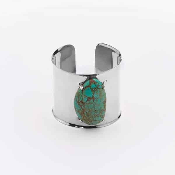Manchette argent et pierre de turquoise Perle de jade