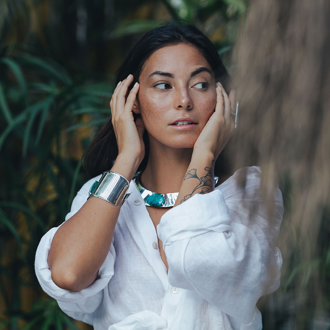 Bracelet manchette argent massif 925 et pierre de turquoise Perle de Jade