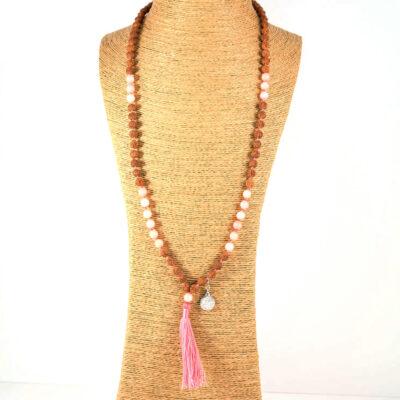 Perle de Jade collier Mâla de méditation en graines de rudraksha