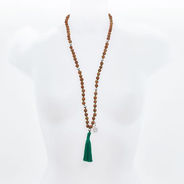 Perle de Jade collier Mâla méditation graines rudraksha pompon vert
