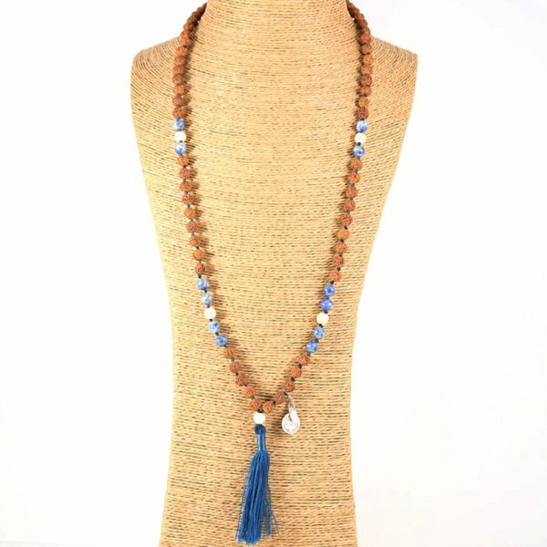 Sautoir Perle de Jade mâla méditation bleu graine rudraksha
