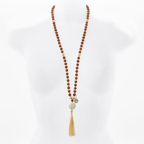 Mâla de méditation Perle de Jade en pierre de lave blanche graines rudraksha