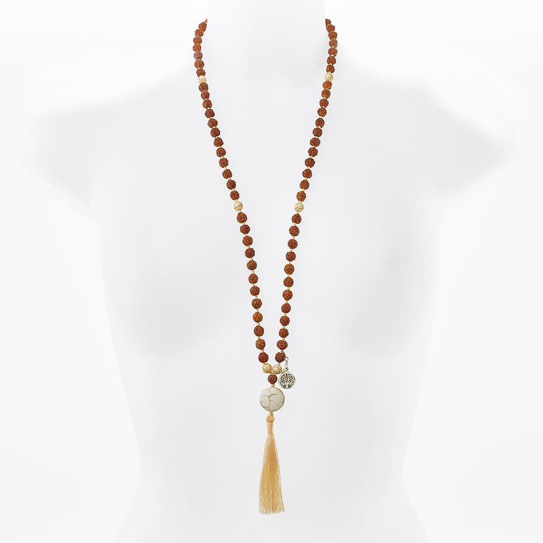 """""""Svitra"""" Mâlâ meditation necklace in lava stone"""