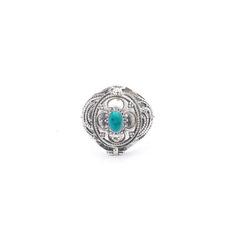 Bague à secret en argent massif et pierre de turquoise perle de jade