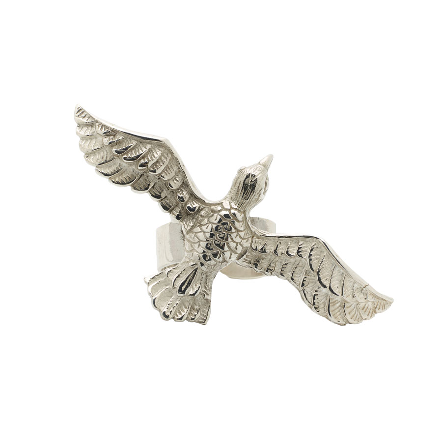 bague wild bird argent massif 925 perle de jade