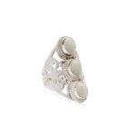 bague argent massif 925 pierre lave blanche