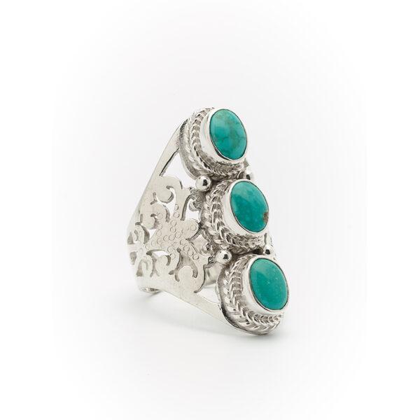 bague pierres de turquoise eivissa perle de jade