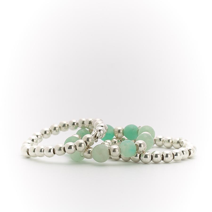 bagues trio élastiques pierres de quartz bleu perle de jade